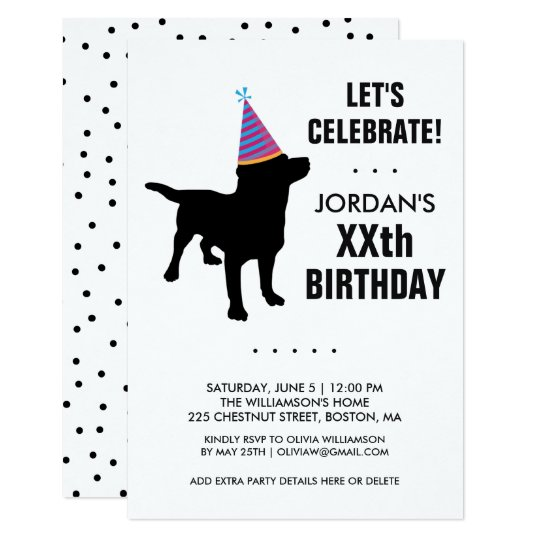 Funny Black Lab Dog Birthday Party Invitation Zazzlecom