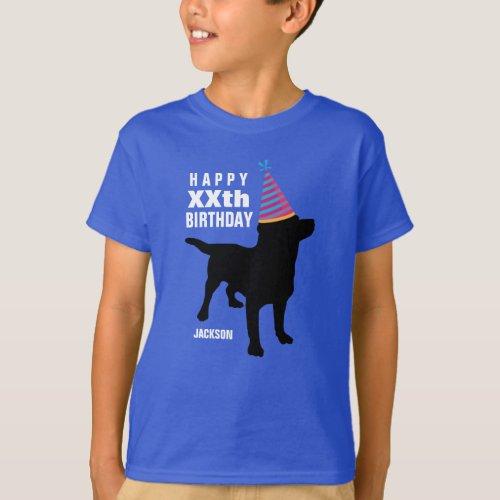 Funny Black Lab Dog Custom Age and Name Birthday T_Shirt