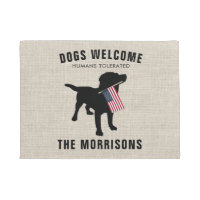 Funny Black Lab Dog Family Name Welcome Mat