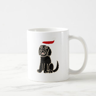 Funny Black Labradoodle in Santa Hat Christmas Art Coffee Mug