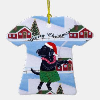Funny Black Labrador Aloha Christmas Christmas Tree Ornaments