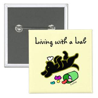 Funny Black Labrador Cartoon Illustration Button