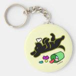 Funny Black Labrador Cartoon Illustration Basic Round Button Keychain