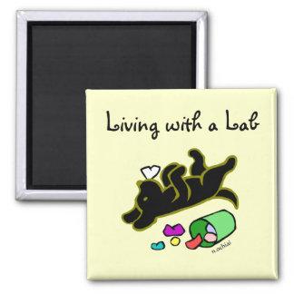 Funny Black Labrador Cartoon Illustration Magnet