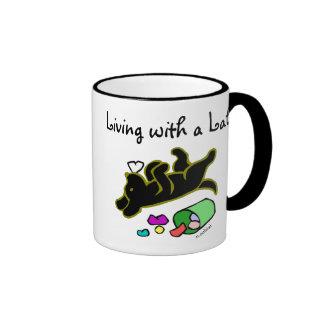 Funny Black Labrador Cartoon Illustration Ringer Coffee Mug