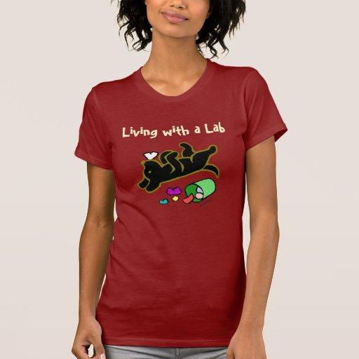 Funny Black Labrador Cartoon Illustration T-Shirt