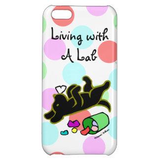 Funny Black Labrador Cartoon Polka Dot iPhone 5C Cover
