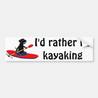 Funny Black Labrador Retriever Dog Kayaking Bumper Sticker
