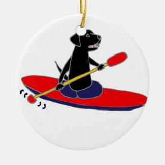 Funny Black Labrador Retriever Dog Kayaking Ceramic Ornament