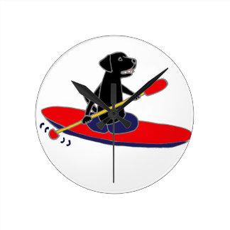 Funny Black Labrador Retriever Dog Kayaking Round Clock