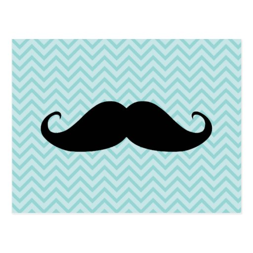 Funny Black Mustache And Blue Chevron Pattern Postcard