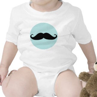 Funny Black Mustache And Blue Chevron Pattern Bodysuits