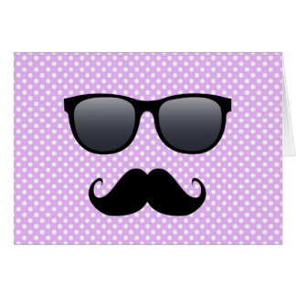 Funny Black Mustache And Glasses Greeting Cards