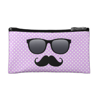 Funny Black Mustache And Glasses Makeup Bag