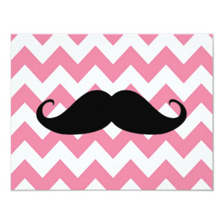 Funny Black Mustache And Pink Chevron Pattern Card