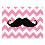 Funny Black Mustache And Pink Chevron Pattern Custom Announcements