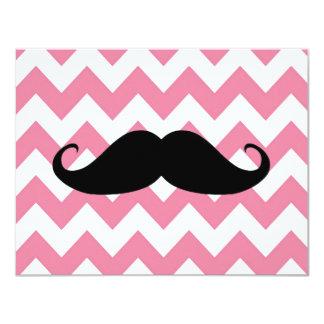 "Funny Black Mustache And Pink Chevron Pattern 4.25"" X 5.5"" Invitation Card"