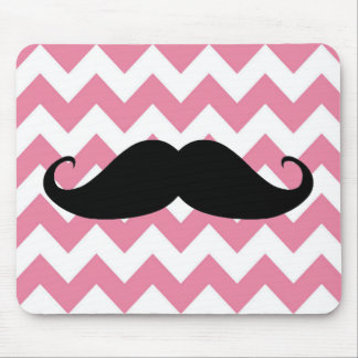 Funny Black Mustache And Pink Chevron Pattern Mouse Pad