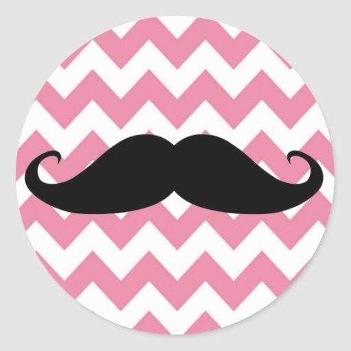 Funny Black Mustache And Pink Chevron Pattern Round Sticker