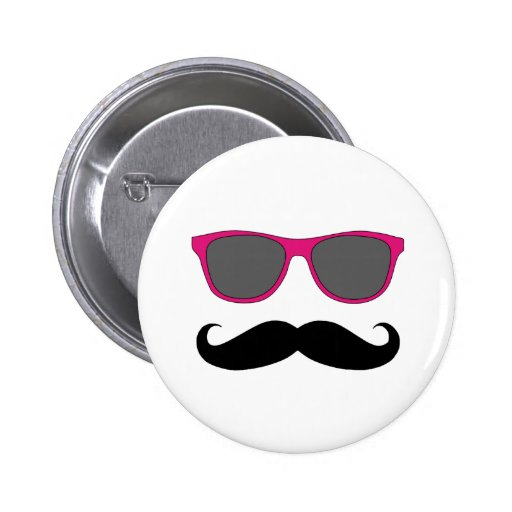 Funny Black Mustache and Pink Sunglasses Pin