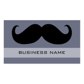 Funny Black Mustache and Plain Grey Business Card