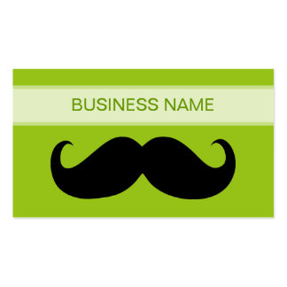 Funny Black Mustache and Plain Lime Business Card