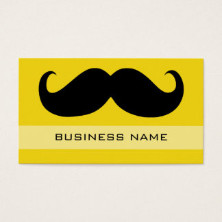 Funny Black Mustache and Plain Yellow Business Card