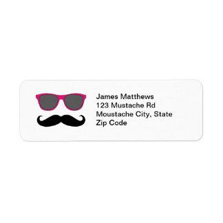 Funny Black Mustache and Sunglasses Return Address Label