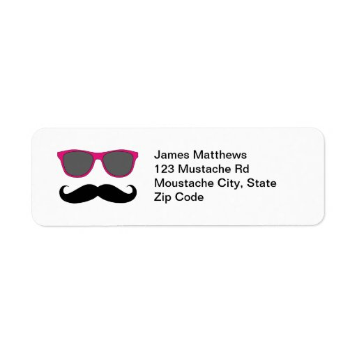Funny Black Mustache and Sunglasses Return Address Custom Return Address Labels