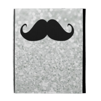 Funny Black Mustache And White Sparkle Bling iPad Cases