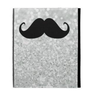 Funny Black Mustache And White Sparkle Bling iPad Folio Case