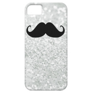 Funny Black Mustache And White Sparkle Bling iPhone 5 Cover