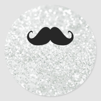 Funny Black Mustache And White Sparkle Bling Classic Round Sticker