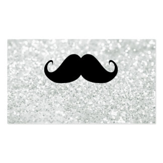 Funny Black Mustache And White Sparkle Bling Double-Sided Standard Business Cards (Pack Of 100)