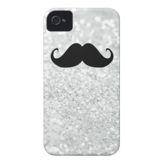 Funny Black Mustache And White Sparkle Bling iPhone 4 Cover