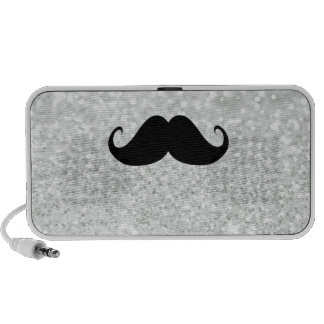Funny Black Mustache And White Sparkle Bling Mp3 Speakers