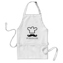 Funny black mustache BBQ apron for men
