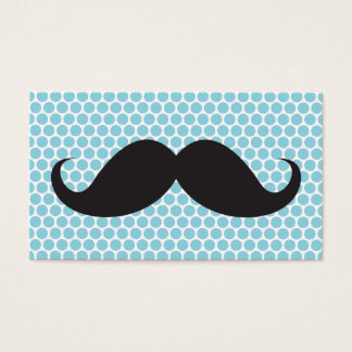 Funny black mustache blue polka dots personal business card