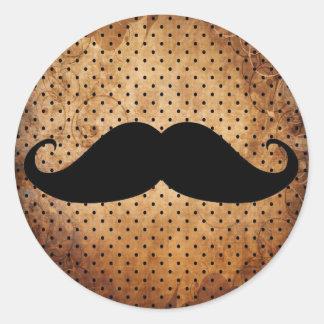 Funny Black Mustache Classic Round Sticker