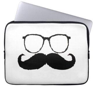 Funny Black Mustache Glasses 2 Laptop Computer Sleeve