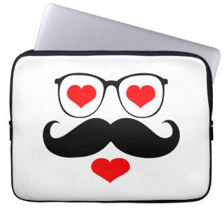 Funny Black Mustache Glasses 3 Computer Sleeve