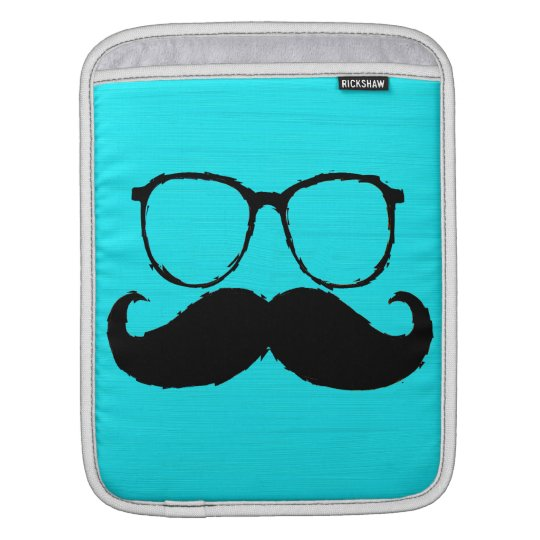 Funny Black Mustache Glasses on Aqua Background Sleeve For iPads