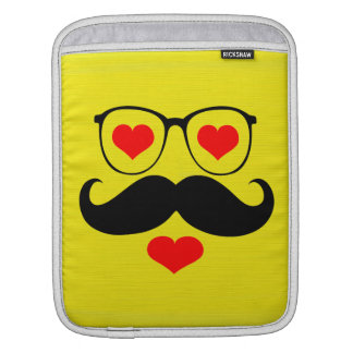 Funny Black Mustache Glasses on Yellow Background iPad Sleeve