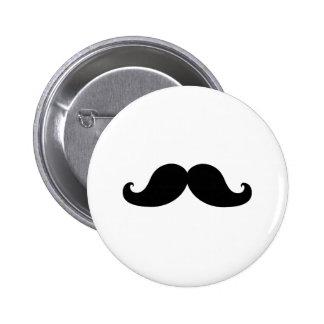 Funny Black Mustache Humor Button