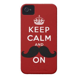 Funny Black Mustache Keep Calm Case-Mate iPhone 4 Case