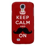Funny Black Mustache Keep Calm Galaxy S4 Cases
