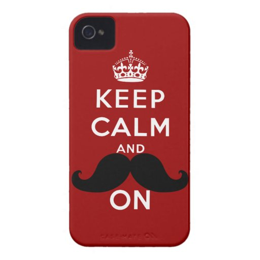 Funny Black Mustache Keep Calm iPhone 4 Covers