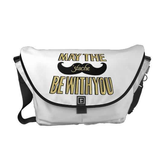 Funny Black Mustache - May the Stache be with you Courier Bag