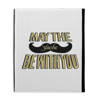 Funny Black Mustache - May the Stache be with you iPad Folio Cases