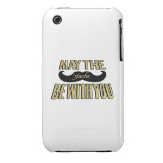 Funny Black Mustache - May the Stache be with you iPhone 3 Cases